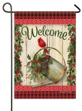 Christmas Welcome Flag, Greens/Cardinal/Watering Can, Small