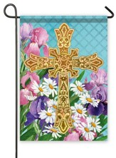 Easter Flowers Cross Flag, Small