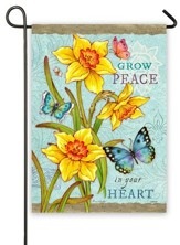 Grow Peace In Your Heart, Daffodils and Butterflies Flag, Small