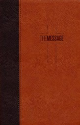The Message Deluxe Gift Bible, Brown/Saddle Tan Leather-Look - Imperfectly Imprinted Bibles