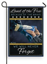 Land of the Free Because of the Brave, Navy, Flag, Small