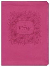 The Message Bible, Dusty Rose Floral Large Print Leather-Look