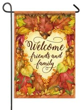 Welcome Friends and Family, Heart of Autumn Flag, Small