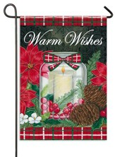 Warm Wishes, Holiday Candle Flag, Small