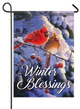 Winter Blessings, Cardinal Flag, Small