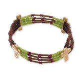 Multi Cross Bead Bracelet, Gold and Brown