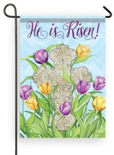 He Is Risen, Cross, Glitter Flag, Small