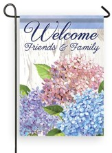 Welcome Friends & Family w hydrangeas, Small Flag