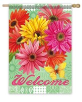 Welcome, Gerbera Garden Flag, Large