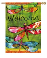 Welcome, Dragonfly Friends Flag, Large