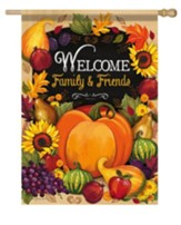 Welcome Family & Friends, Pumpkin Flag, Large