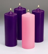 Advent Pillar Candle Set/ 3 purple, 1 pink (3 x 9)