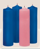 Advent Pillar Candle Set/ 3 blue, 1 pink (3 x 9)