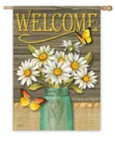 Welcome, Daisy Jar Flag, Large