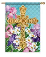 Easter Flowers Cross Flag, Large
