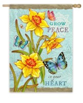 Grow Peace In Your Heart, Daffodils and Butterflies Flag, Large