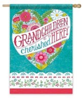 Grandchildren Cherished Here Flag, Large