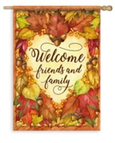 Welcome Friends and Family, Heart of Autumn Flag, Large