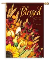 Blessed, Wheat Bouquet Flag, Large