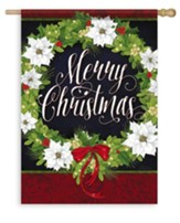 Merry Christmas Wreath Flag, Large
