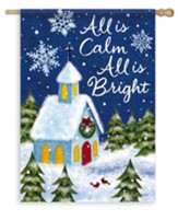 All Is Calm, Snowy Church Flag, Large