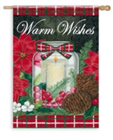 Warm Wishes, Holiday Candle Flag, Large
