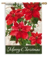 Merry Christmas, Pinecone Poinsettias Flag, Large