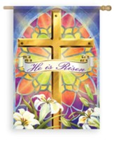 He Is Risen, Stained Glass, Large Flag