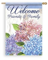 Welcome Friends And Family (hydrangeas), Large Flag