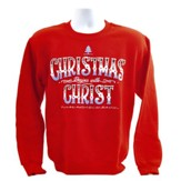 Christmas Begins With Christ, Crew Neck Sweatshirt, Red, Medium