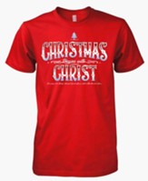 Christmas Begins With Christ, Short Sleeve Tee Shirt, Red, Small