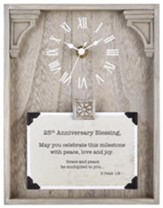 25th Anniversary Blessing, II Peter 1:2, Tabletop Clock