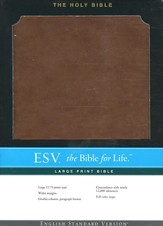 ESV Large-Print Bible--soft leather-look, brown
