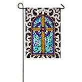Cross with Scroll Border Burlap Flag, Small