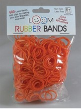 Loom Rubber Bands, 600 Pieces, Orange