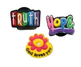 Loom Charms, 3 Piece, God Loves You Flower, Truth, Hope