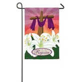 Rejoice, Cross and Lilies Suede Flag, Small