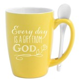 Every Day is a Gift Ceramic Mug and Spoon Set, Yellow
