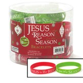 Jesus Is the Reason Bracelets, Tub of 24, Red and Green