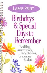 Special Days and Occasion Reminder Calendar, Large Print