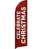 Celebrate Christmas Red Sparkle Flag Banner
