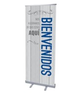 Painted Wood Welcome Spanish (31 inch x 79 inch) RollUp Banner