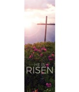 He Is Risen Mountain (2' x 6') Vinyl Banner