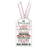 Rejoice, Christmas Tag Ornament (Isaiah 9:6)