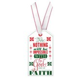 Faith, Christmas Tag Ornament (Luke 1:37)