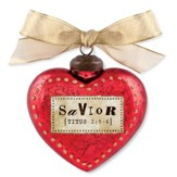 Savior, Heart Ornament, Red
