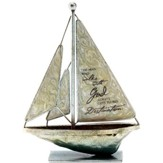 The Man Who Walks With God Metal Sailboat, Small