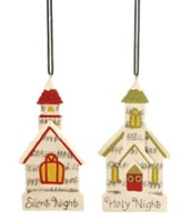Silent Night/Holy Night Church Ornaments, Set of 2