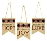 Hope, Joy, Love Ornaments with Buttons and Bows, Set of 3