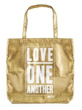 Love One Another Tote Bag, Gold